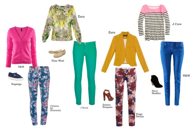Yesterday, I talked about crushing on colored and printed denim for spring. Shortly after finishing that post, I found myself searching online stores for the perfect pair. These were just a few of my favorites and how I would wear them. Fun fact: I recall having a pair of guess jeans in the blue color shown above in Jr High - yes, I'm dating myself! They zipped at the ankle and I wore them with a  green, white and blue striped Forenza sweater. Scary that memory of mine. If there's one thing you can always count on in fashion, everything always come back around, just in a more modern version.