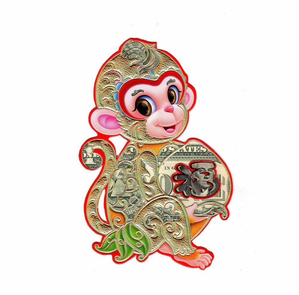 Monkey Money, collage 2016