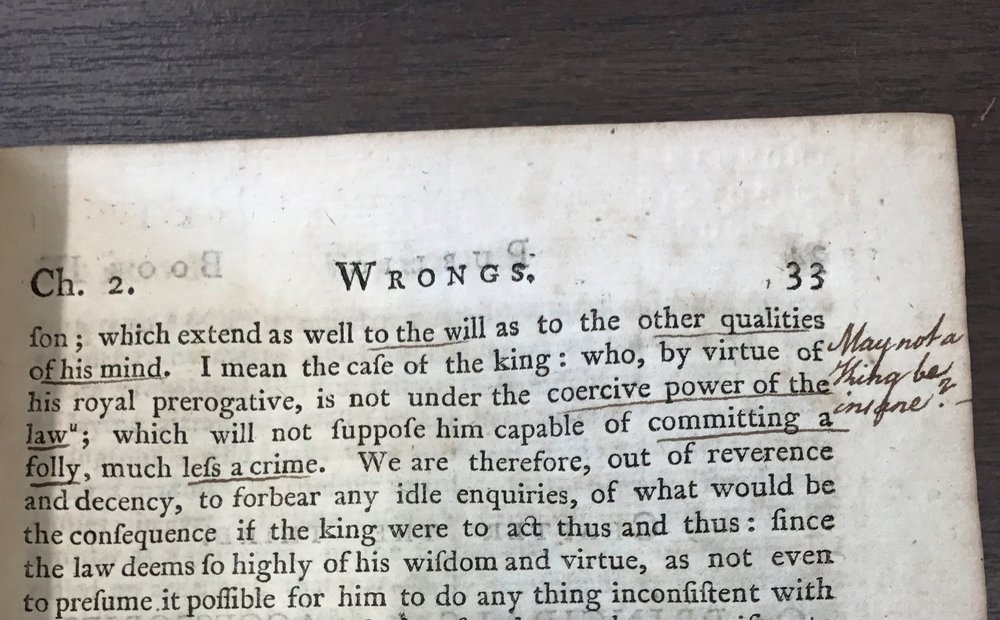 Detail from volume four of William Ellery's copy of Commentaries on the Laws of England (1772); Newport Historical Society archives. With permission from NHS.