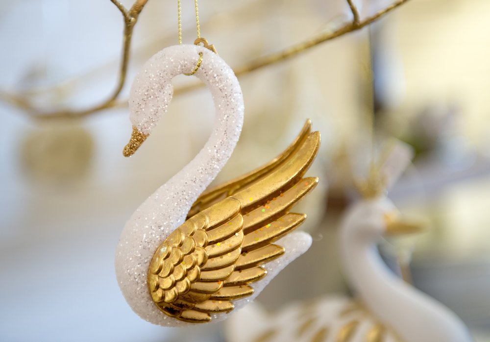 Swan Christmas Ornament in Atlanta's Swan Coach House