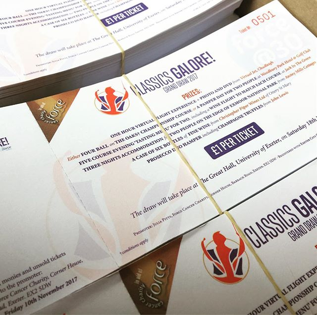 Raffle Tickets printed and ready for Classics Galore! Supporting @forcecancer #exeter #devon