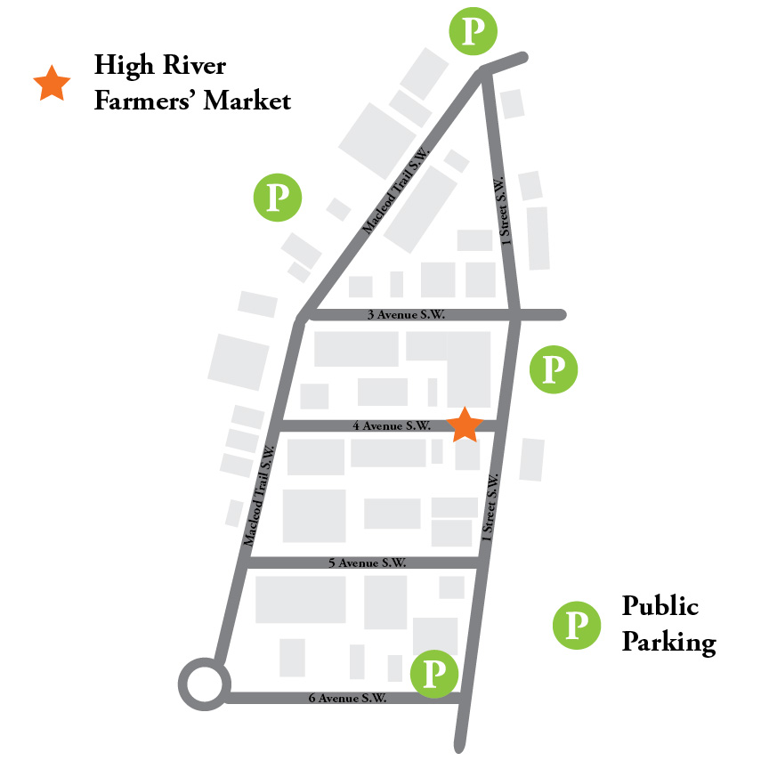 Location & Parking - The Farmers' Market is located on  the pedestrian friendly 4 Avenue S.W. and 1 Street S.W. in High River's downtown.There are several parking lots located within a short walking distance of the market.