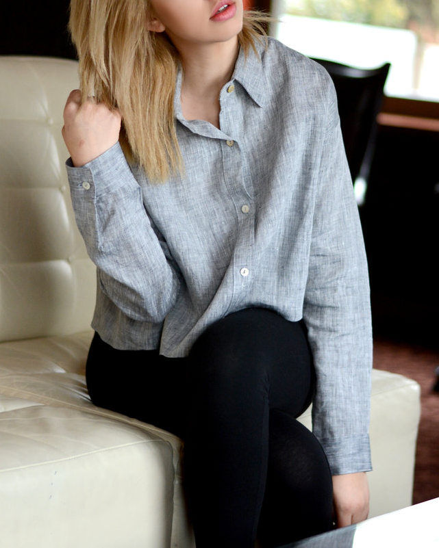 Grey Textured Blouse