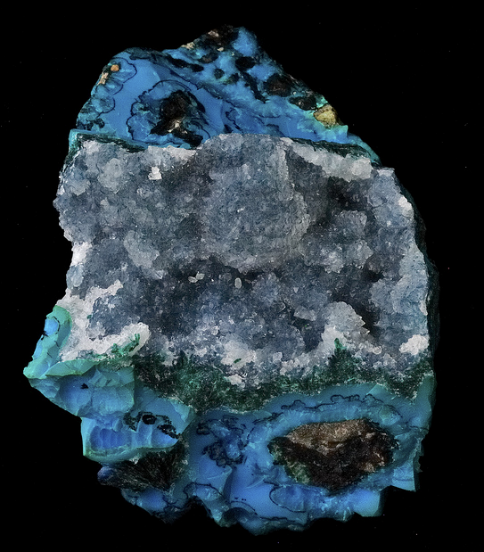 Any guesses as to what minerals we are looking at? Many gemstones and minerals are saturated with blue hues:  Lapis Lazuli, Sodalite, Azurite etc.