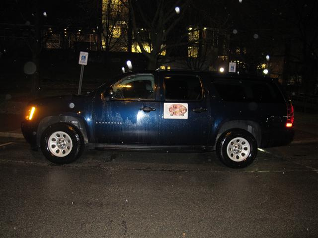 Every morning at 5am, this rigged SUV hosted all the lectures. The SUV had special magnets on its exterior marking it as the place to be at dawn.