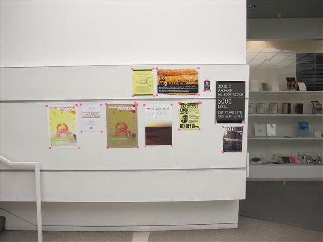 Cleaned up display areas featuring the Dawn Lines poster.