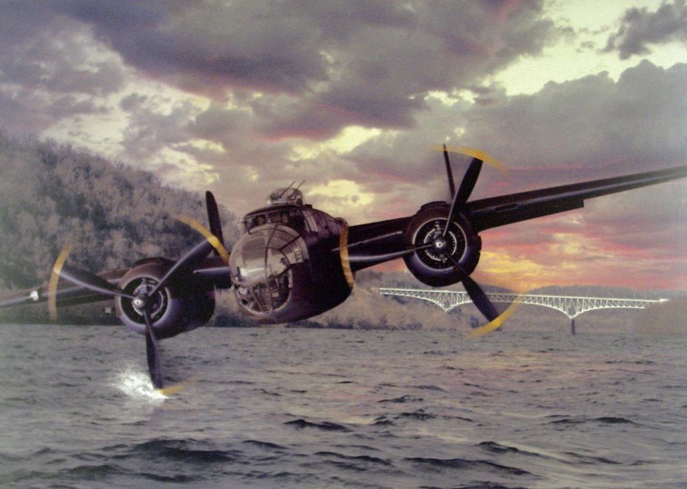 Illustration of the B-25 bomber over the Monongahela River.  Courtesy of the B-25 Recovery Group.