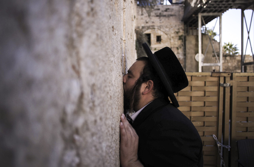 A haredi Jewish man praying at the Western Wall in the Old City of Jerusalem, Israel, Dec. 9, 2015. (Muammar Awad/Flash90)
