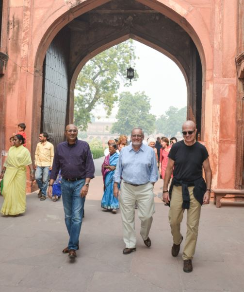 PATh CEO Steve davis (r) and travelers on a path journeys india trip.