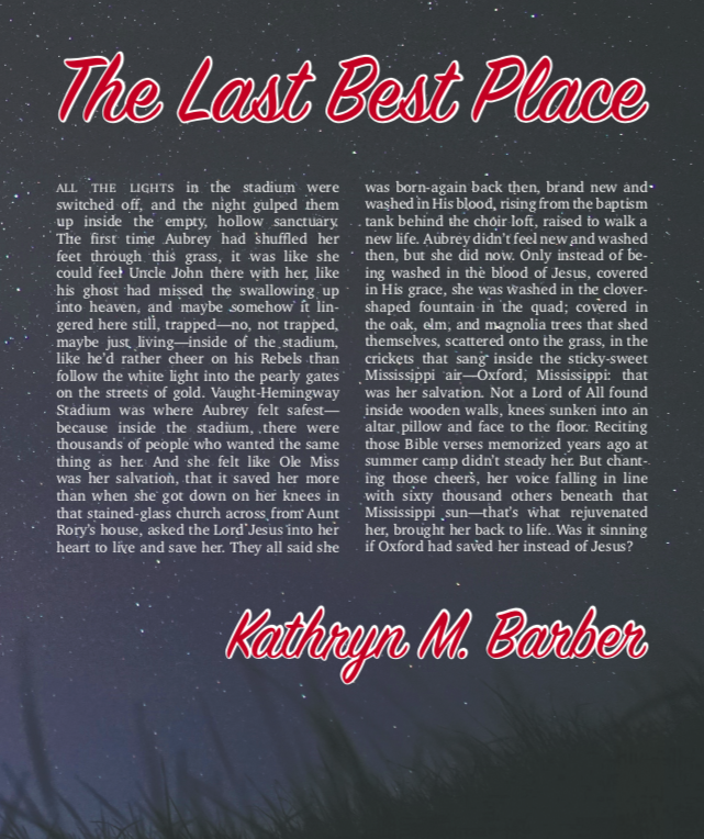From  The Last Best Place  © Kathryn M. Barber. Reprinted with the author's permission. Image © Erwin Hesry, via Unsplash. This broadside was produced in The Publishing Laboratory at the University of North Carolina Wilmington on the occasion of the author's reading, 05 April, 2018. Designer: F. Morgan Davis.
