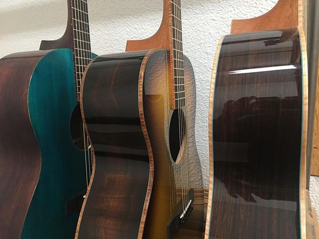 A little bit of colour on the rack this week #hearthepassion #indianrosewood #brazilianrosewood #mahogany #sunburst #coloredtop