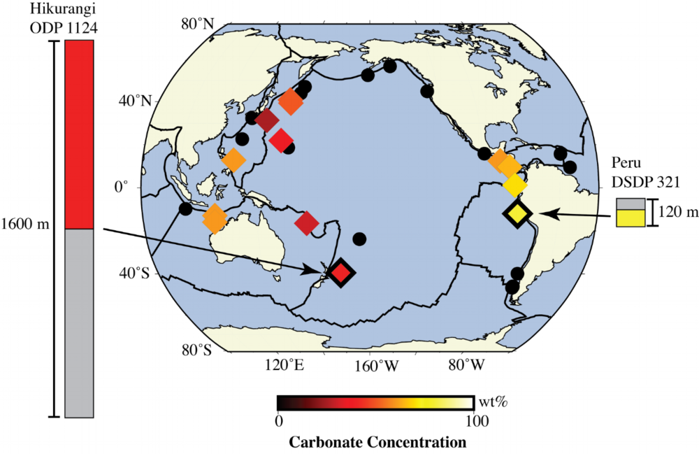 Map of the Ring of Fire with plate boundaries marked as thick black lines. In this map, symbols represent locations where ocean drill cores have recovered material penetrating through the entire thickness of the sediment overlying the oceanic crust. Diamonds show cores that have a significant amount of carbonate in the sedimentary sequence, with the color representing the concentration of carbonate. Cores used for this project are outlined in black and a schematic of the sedimentary stratigraphy at these sites is shown on either side of the map.
