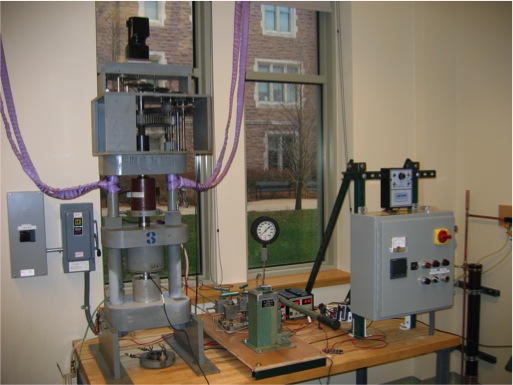 Griggs deformation apparatus at Washington University in St. Louis. This apparatus is used to deform samples at high pressures and temperatures.