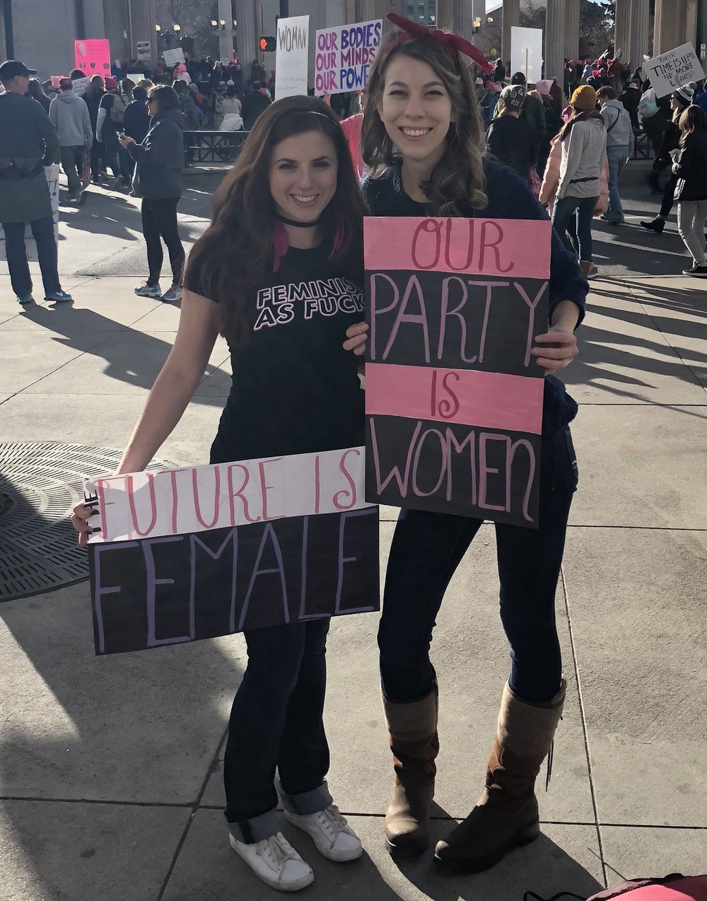 Author, Camille Tallichet, pictured left at the 2018 Women's March in Denver, CO.