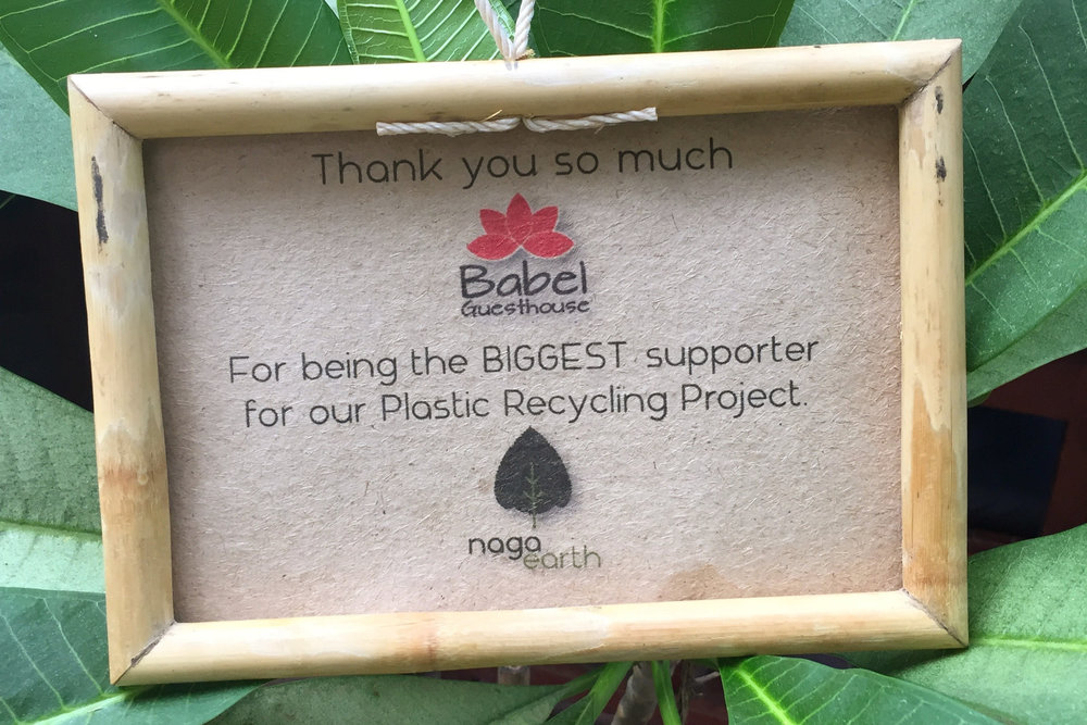 Naga Earth - We donate our used cooking oil to Naga Earth and we use their Eco-friendly biodiesel in our generator. We use their wonderful foaming hand soap in our kitchen and bar, for our staff, and in our guest toilet downstairs. Eventually you will find this Eco-friendly soap in every room of our guesthouse and for refill in Babel Eco-shop and Refill Station. Staff and Tuk Tuk drivers from Babel have also completed several recycling workshops with Naga Earth, and learned how to recycle our own paper.