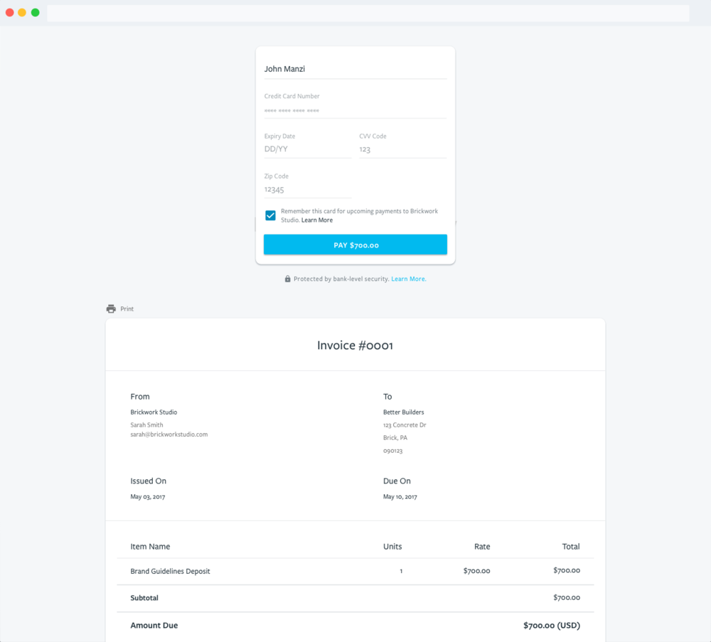 Image of invoice with payment form