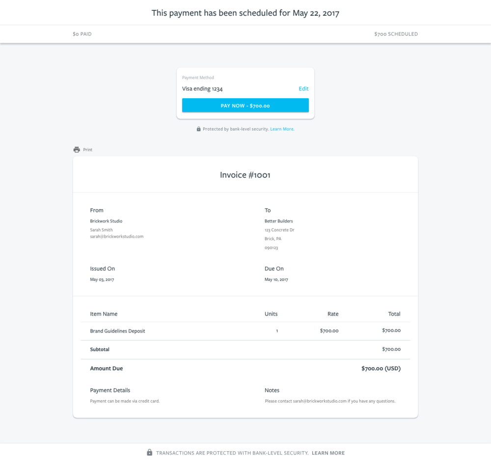 Image of scheduled invoice