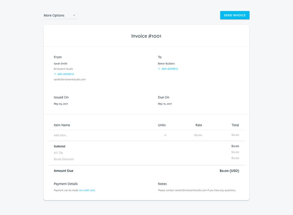 Create a professional invoice