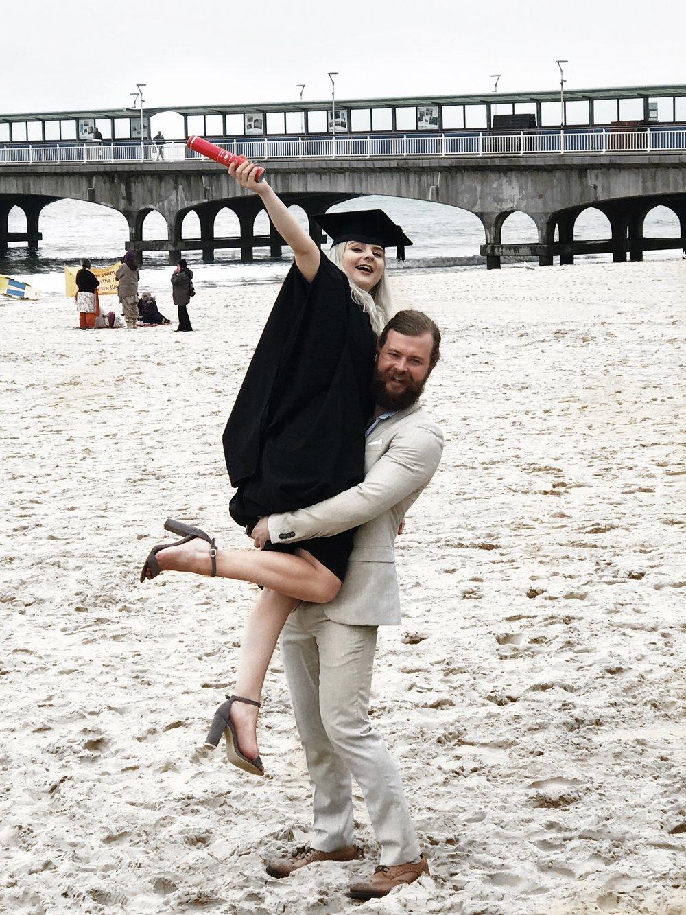 graduation on bournemouth beach