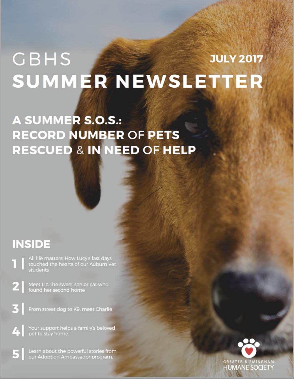 GBHS SUMMER NEWSLETTER -