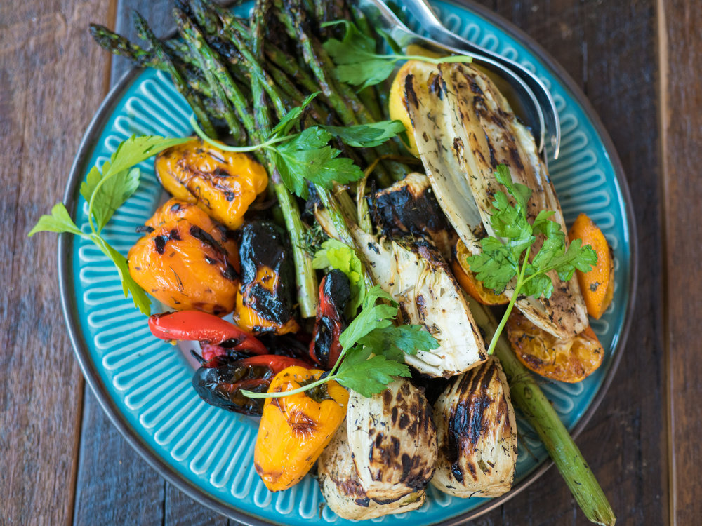 A colorful medley of roasted peppers, asparagus, fennel, and endive