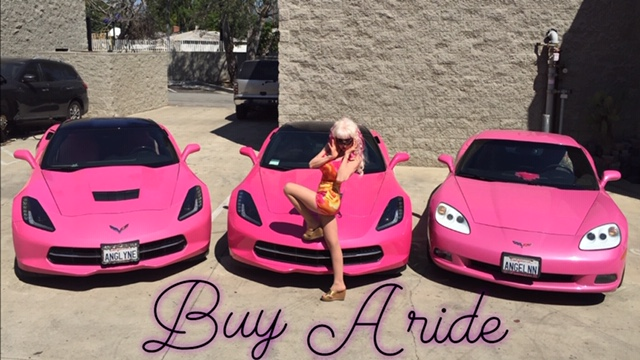 An intimate ride in the Pink Corvette with Angelyne in Hollywood Ca.