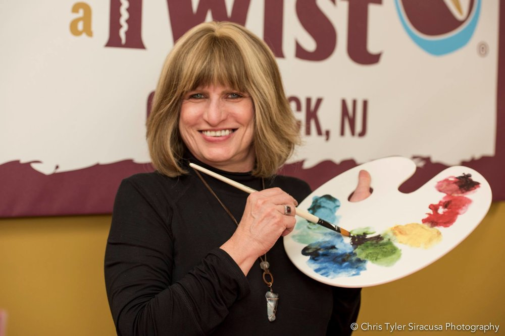 Regina having fun at the grand opening of Painting With a Twist in Glen Rock, N.J.