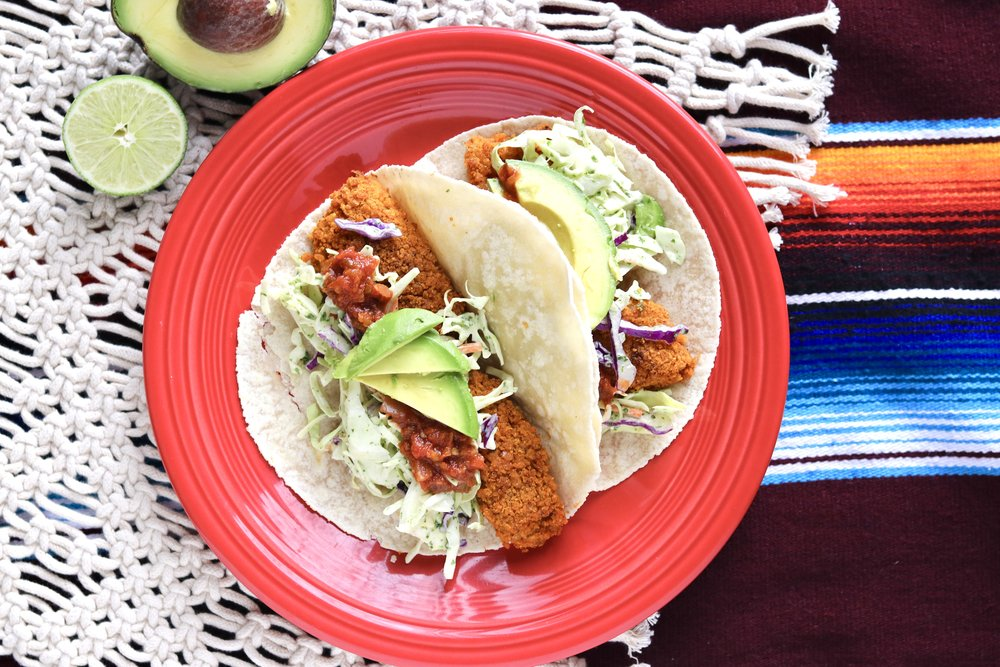 Crispy Fish Tacos with Cilantro Lime Slaw by I'd Eat That Food