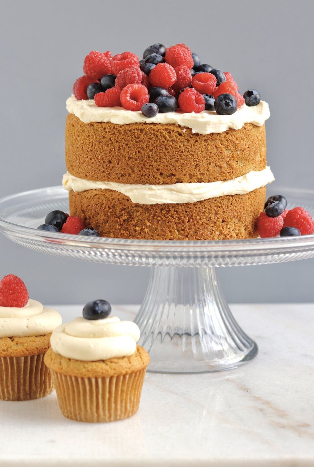Grain-Free Lemon Berry Cake with Lemon Buttercream by I'd Eat That Food