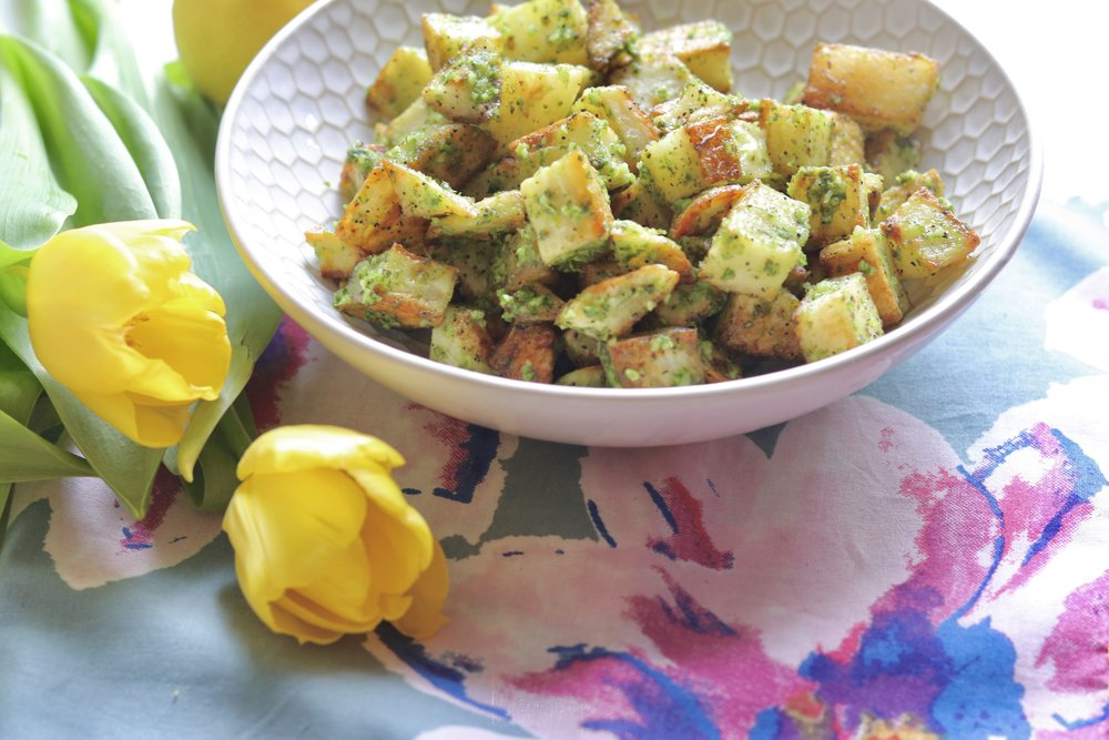 Roasted Potatoes with Arugula Pesto by I'd Eat That Food