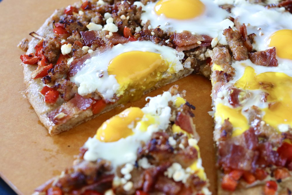 Meat Lovers Breakfast Pizza by I'd Eat That Food