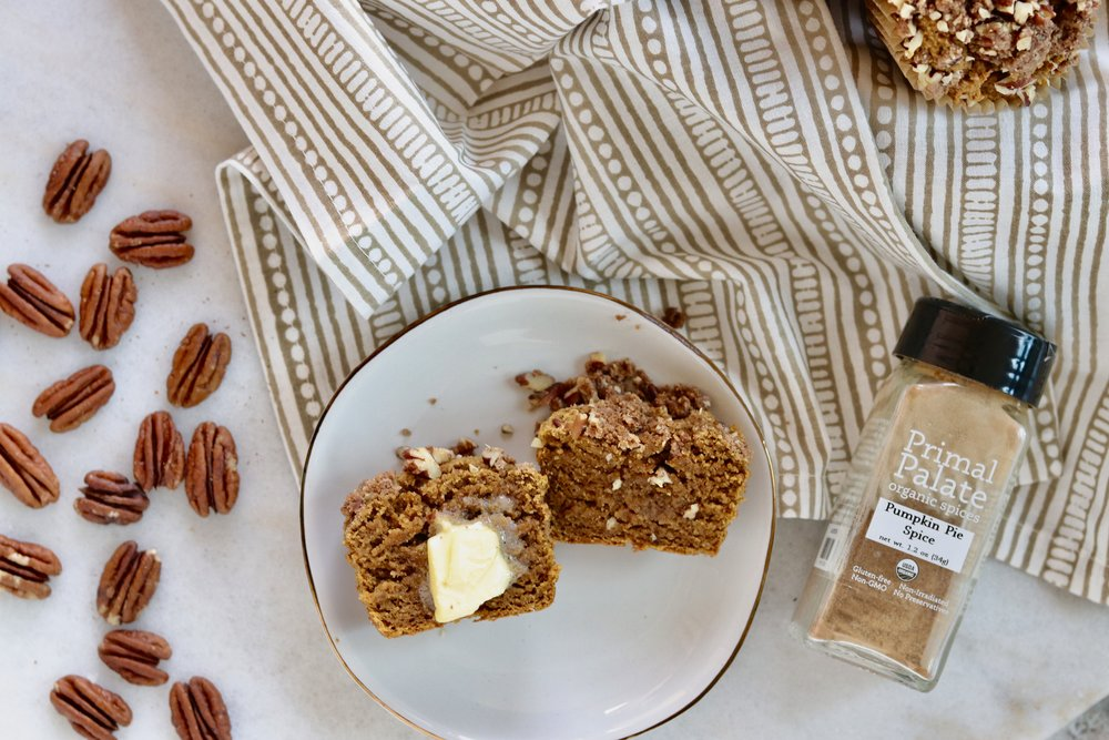 Grain-Free Pumpkin Muffins with Pecan Streusel