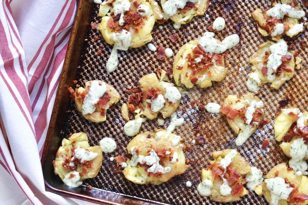 Crispy Smashed Potatoes with Bacon and Ranch by I'd Eat That Food