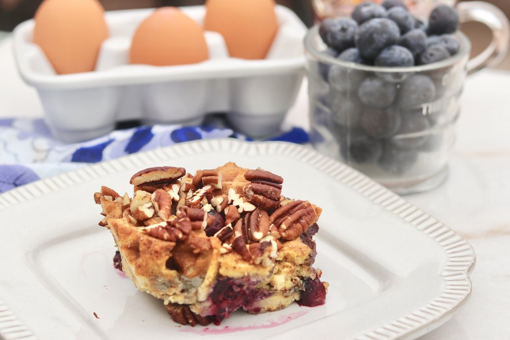 Blueberry Waffle French Toast Bake by I'd Eat That Food