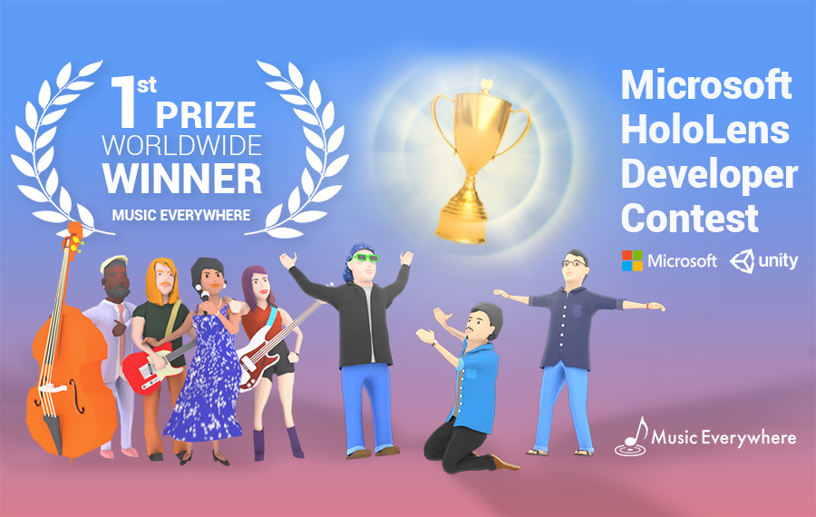 1st prize of the Unity / Microsoft HoloLens Contest - Out of 1000+ worldwide submissions, Music Everywhere's AR piano application has won the Grand Prize in the 2017 Unity / Microsoft HoloLens developer contest.
