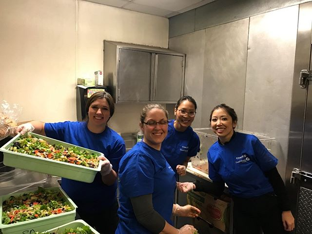 @jpmorgan @chase Volunteers helping us prep food at a crucial time when we are short 3 chefs on staff. Thank You for donating your time so that together, we can feed the hungry in the Seattle community.