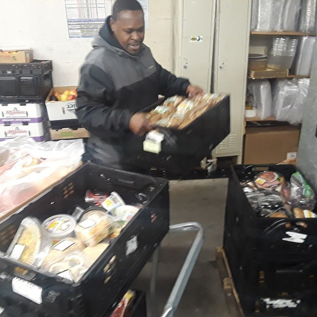 Today was the firsr of many pickups from the QFC in Bellevue.  Already 550lbs of produce that our organization desperately needs per day. Craig, our driver in training, is seen here loading up sandwhiches set aside for donations as well.  Contact us if you want to learn more about food rescue.  #foodrescue #pioneersquare #freefood #equity #feedinghomeless