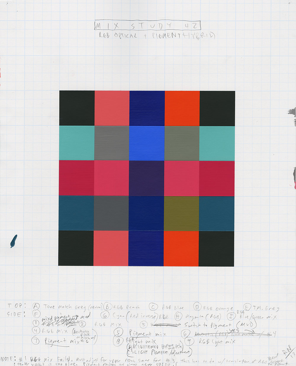 Mix Study   2013  Graphite, Acrylic on  Screenprinted graph paper  17 x 13 inches  (43.18 x 33.02 cm)