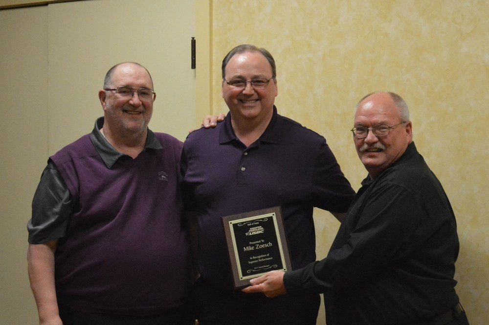 2017 Hall of Fame inductee- Mike Zoesch.   Pictured left to right Larry Schwab, Mike Zoesch, Bob Sattergren