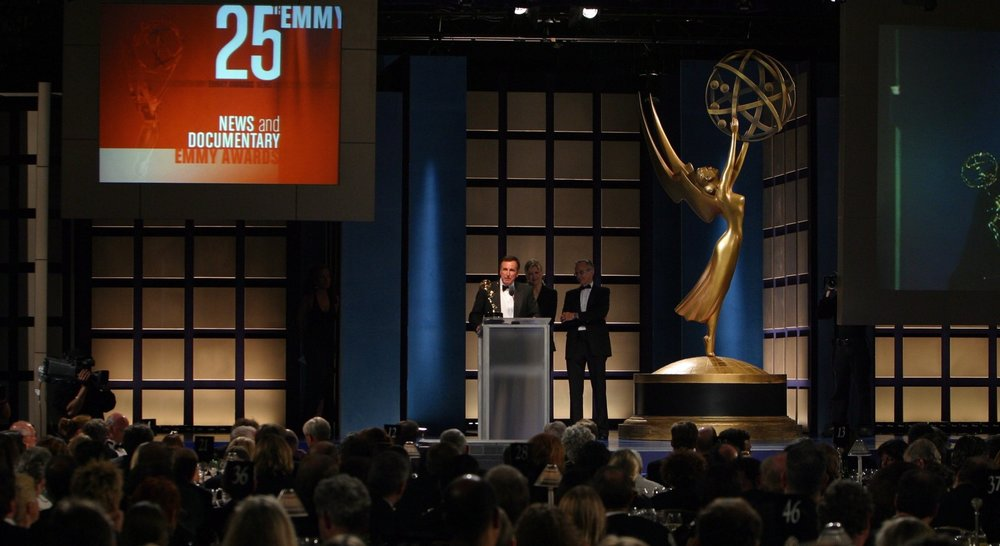 Mike Cerre at the 25th Emmy Awards. Winner of the News & Documentary.