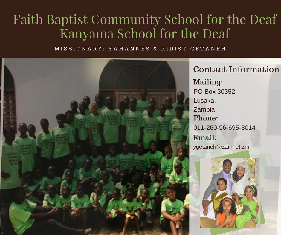 For more information on our schools for the Deaf in Zambia, contact  Yohanes Getaneh .