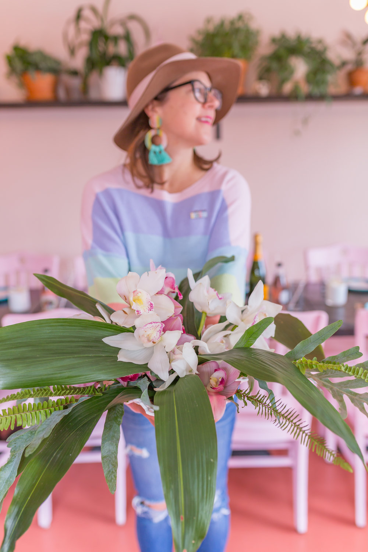 Tropical summer centerpiece by Charleston florist