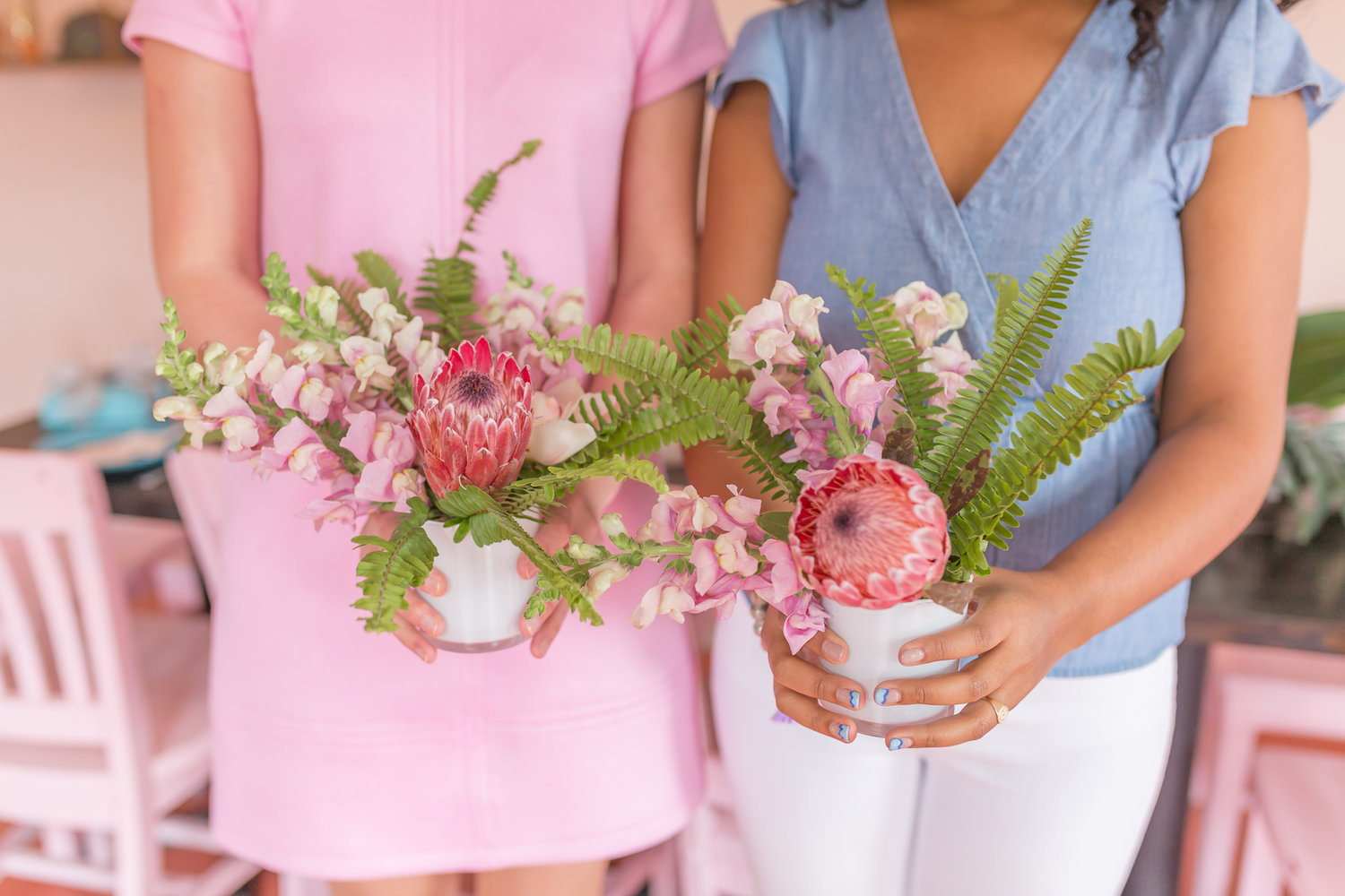 Modern Pink Centerpieces by a Charleston florist
