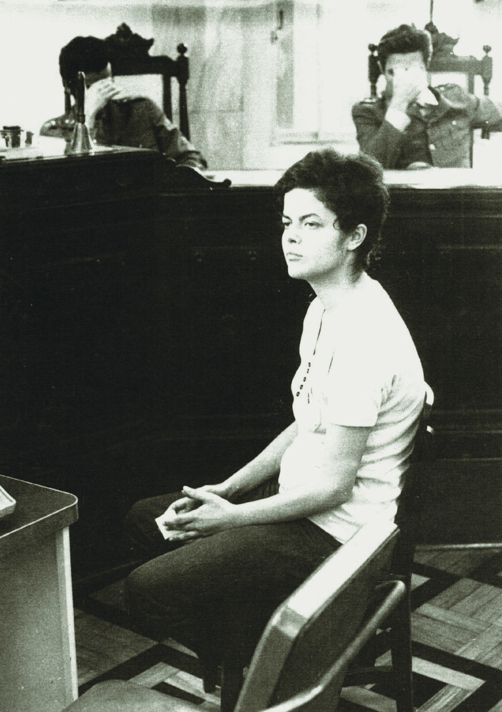 Dilma Rousseff on trial in 1970. As a militant activist, she was arrested and tortured. She became the first woman president of Brazil in 2011. She was impeached in 2016.