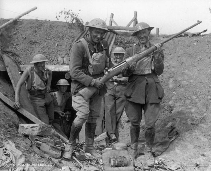 Here, some New Zealand soldiers pose with a captured German T-Gewehr, a massive anti-tank rifle. These guns were deadly to tanks as they could penetrate their armour but were rarely used effectively and no one wanted to shoot them for very long!