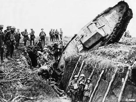 The Germans dug many ditches like this one to trap tanks. This could stop advances that relied on tanks, dead in their tracks. Thus, at Passchendaele at least, tanks while used extensively, failed to have the desired impact on the tide of the war.
