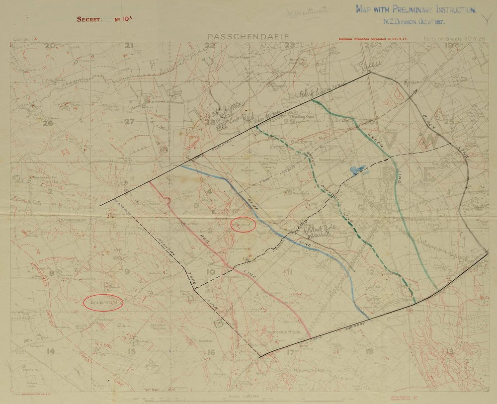 The planned five-stage assault on Passchendaele – Gravenstafel and Bellevue are circled in red. The boundaries for the ANZAC Corps can be plainly seen, along with the Division and Brigade boundaries for the New Zealand Division (on the left).
