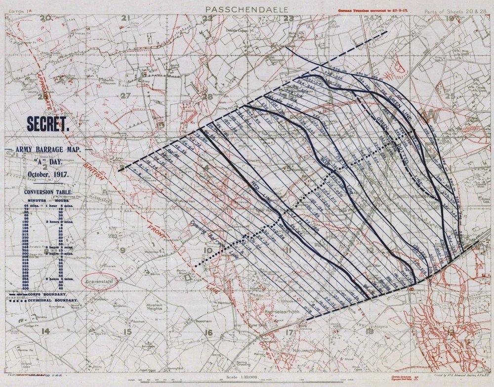 The accompanying barrage plan for the attack on Passchendaele. After the initial lines, the impact of the artillery petered out.