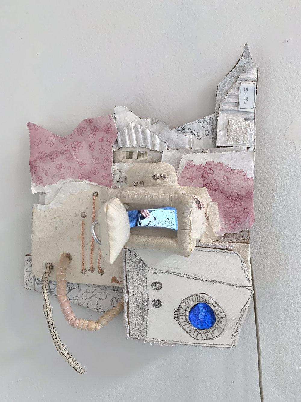 Untitled 3,  cardboard, paper, watercolor, beads, paint, fabric, graphite, video, picture slideshow, 2018  In collaboration with Rachel Wilkins
