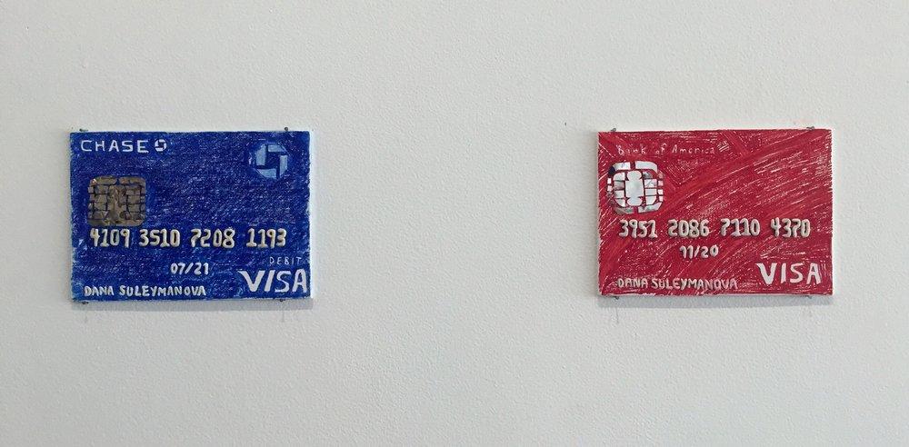credit or debit , canvas board, sharpie, mylar, plasticine, 2018